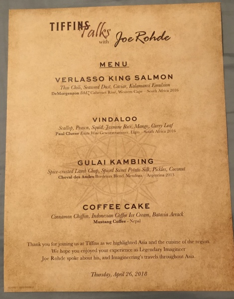 Menu from that days Tiffins Talks