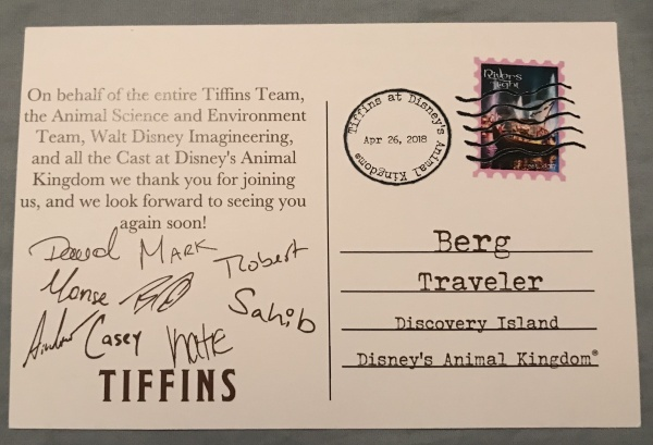 Postcard back from Tiffins Talks