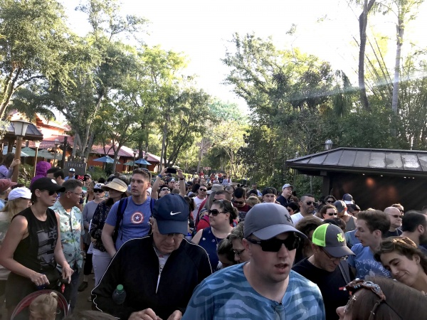 Crowd of guests waiting to enter Pandora