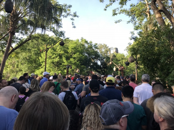 Crowd on bridge to Pandora