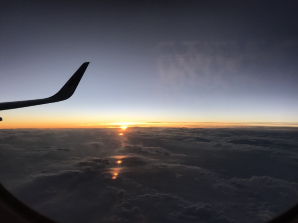 View of clouds flying