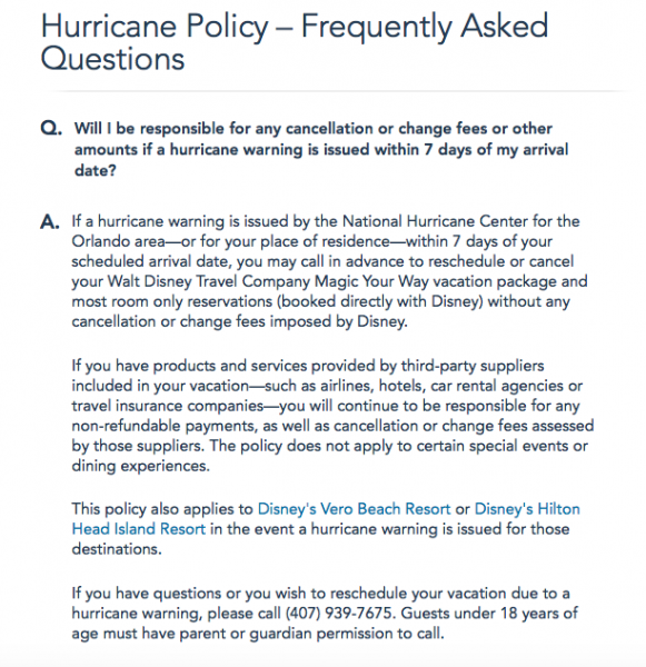 Cancellation policy for Disney