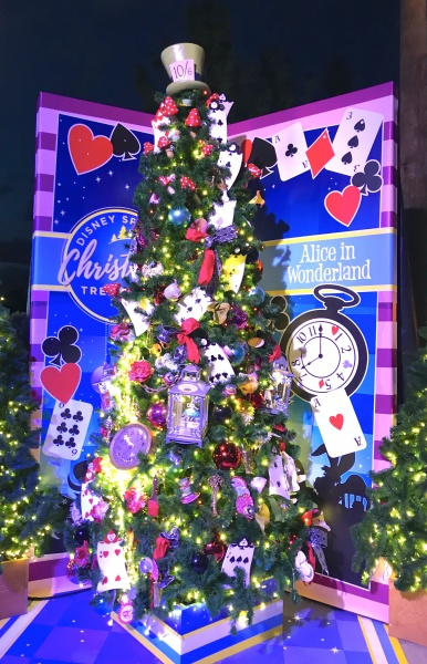 Christmas tree themed to Alice and Wonderland