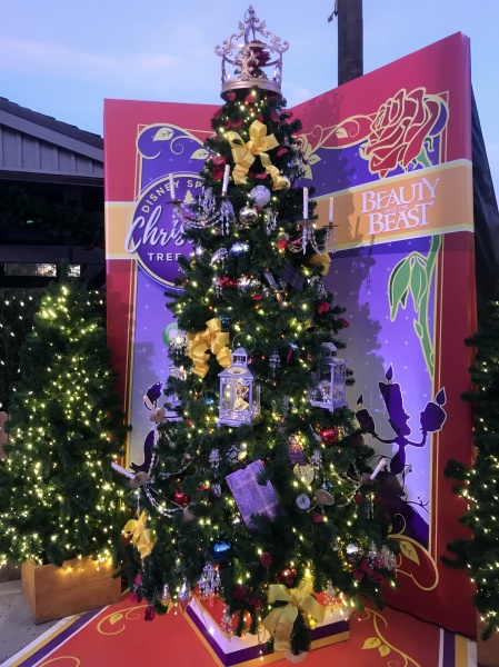 Christmas tree themed to Beauty and the Beast