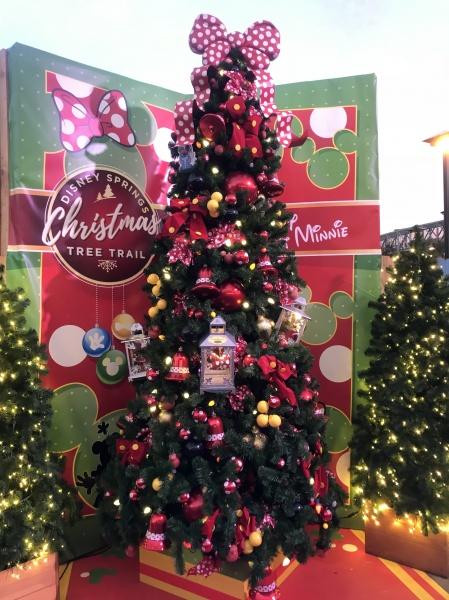 Christmas tree themed to Mickey and Minnie
