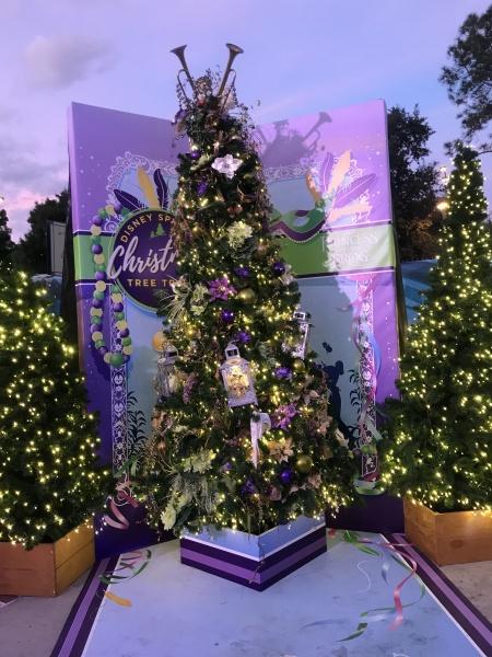 Christmas tree themed to the Princess and the Frog