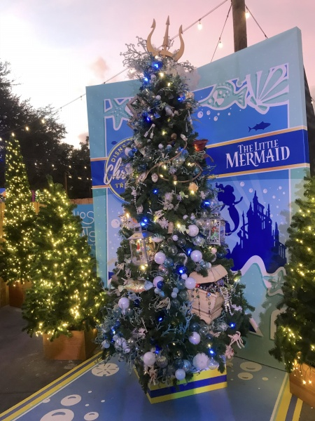 Christmas tree themed to The Little Mermaid