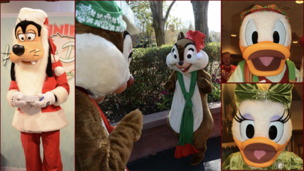 Christmas characters at Hollywood Studios
