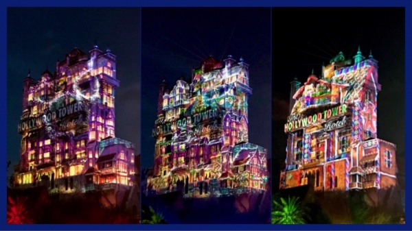 Holiday projections on the Tower of Terror