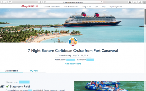 Main reservation page on Disney Cruise site