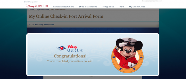 Captain Mickey stating online check-in is complete