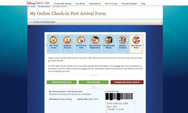 Print or download your port arrival form for DCL