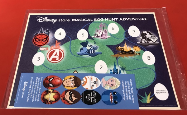 Map and stickers for the Disney store egg hunt