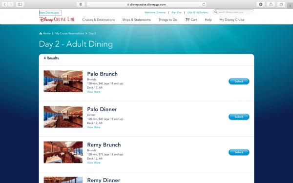 Booking Disney Cruise dining