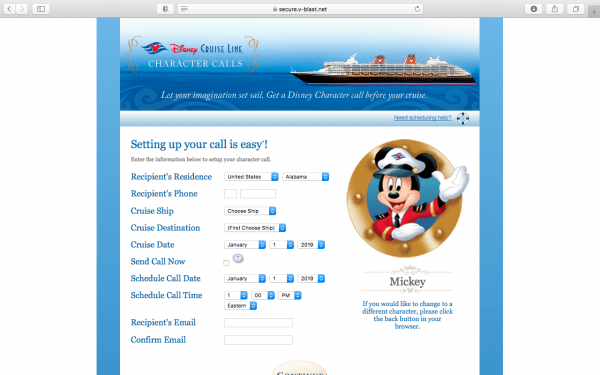 Schedule a character call before your Disney Cruise