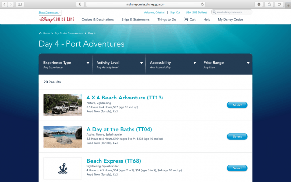Port Adventure availability for DCL