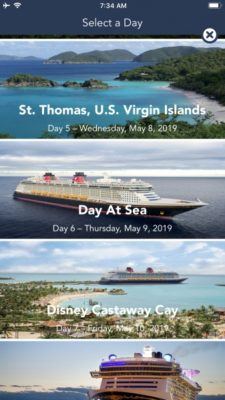 DCL itinerary in the app