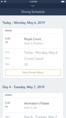 DCL app dining information