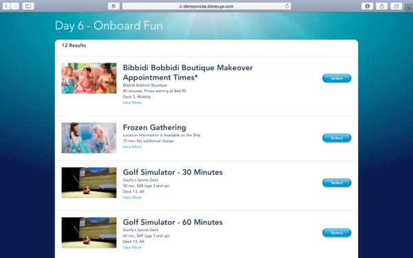 Availability of onboard activities on Disney Cruise