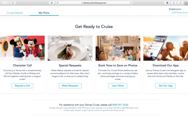 Disney Cruise pre-booking options