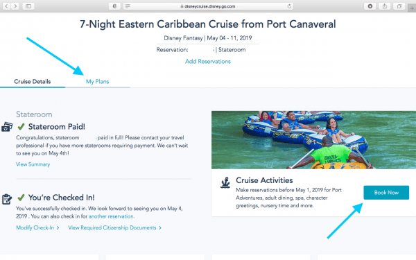 Booking Onboard Activities and Port Adventures for a Disney Cruise