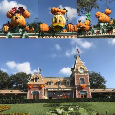 Fall decorations at the tapstiles of Disneyland