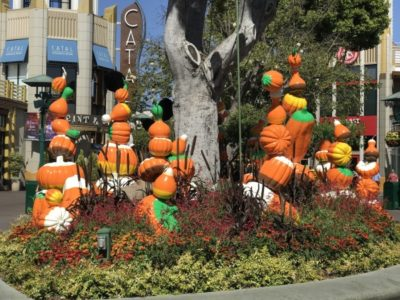 candy and pumpkin Halloween decorations | Disneyland in the fall