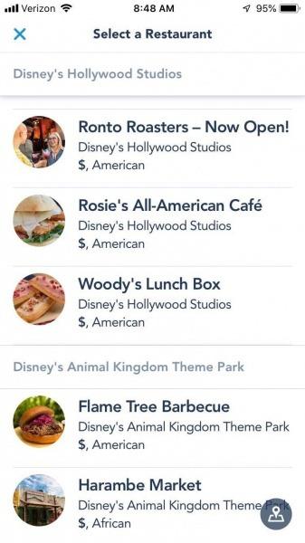 Mobile ordering at Walt Disney World