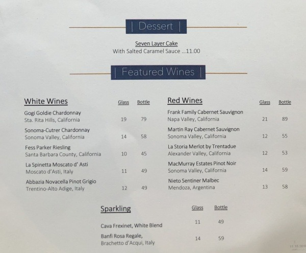 Top of the World Lounge Menu Desserts and Wines