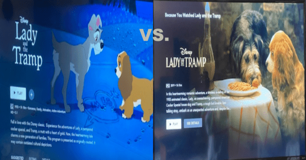 Animated Lady And The Tramp Vs The Live Action The Lady And The Tramp
