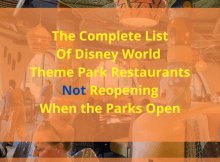 Disney World Restaurants Not Reopening