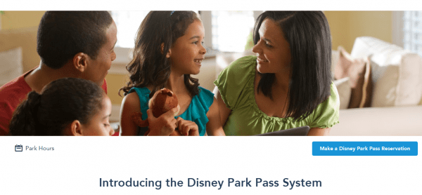 Walt Disney World's New Park Pass System Reservation Button