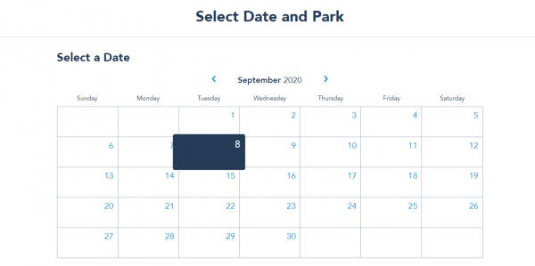 Walt Disney World's New Park Pass System date selection
