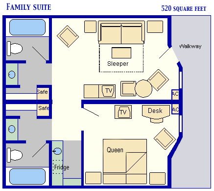 Family Suites at Disney's All Star Music Resort Room Layout