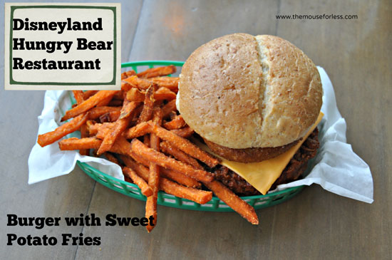 Burger with sweet potato fries from Hungry Bear Restaurant at Disneyland Park