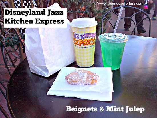 Beignets and Mint Julep from Jazz Kitchen Express Restaurant at Disneyland Resort Downtown Disney