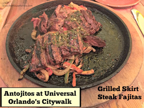 Grilled Skirt Steak at Antojitos Authentic Mexican Restaurant at Universal CityWalk #UniversalDining #CityWalk #UniversalOrlando