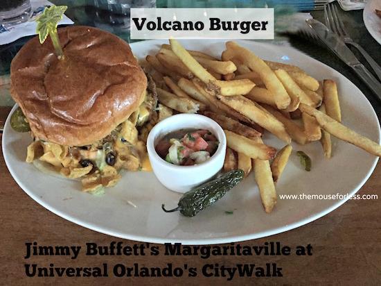 Volcano Burger at Jimmy Buffett's Margaritaville Restaurant at Universal CityWalk #UniversalDining #CityWalk #UniversalOrlando