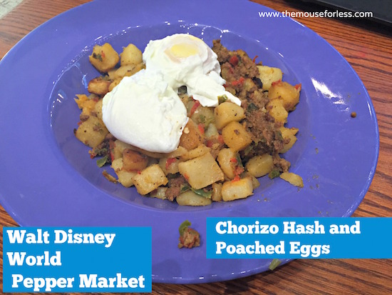 Chorizo Hash and Poached Eggs at Pepper Market at Coronado Springs Resort #DisneyDining #CoronadoSpringsResort