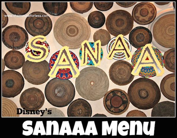 sanaa dinner menu walt disney world resort