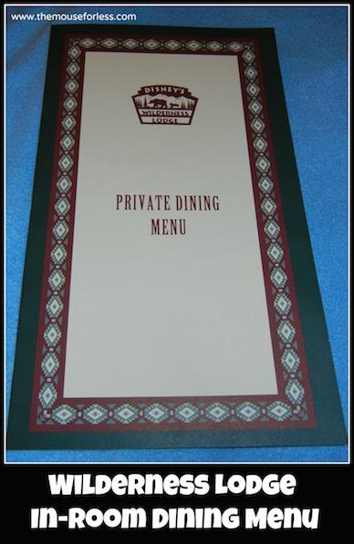 Wilderness Lodge Resort In Room Dining Menu