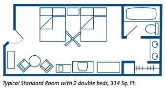 Disney's Coronado Springs Resort Room Layout