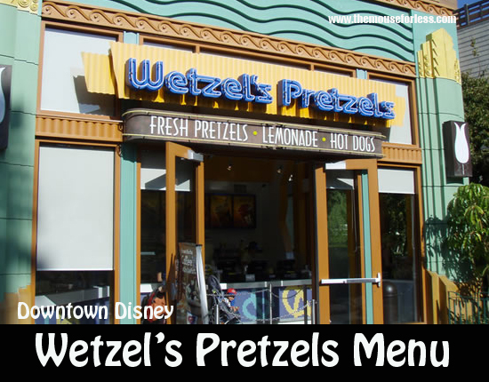Wetzel's Pretzels Menu