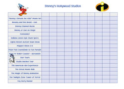Hollywood Studios checklist for boys