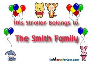 Disney Stroller Identification Tag Cutie Winnie The Pooh