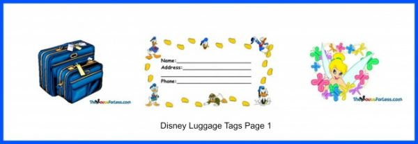 image regarding Disney Luggage Tags Printable called Disney Bags Tags - Webpage 1 of 3 obtain and print ][po