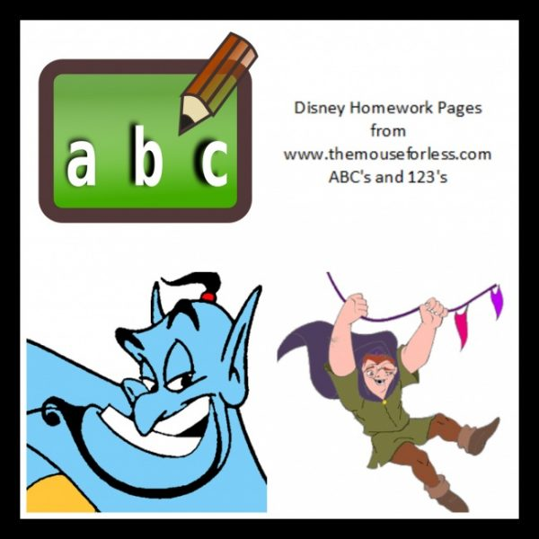 Disney Homework Numbers Pages