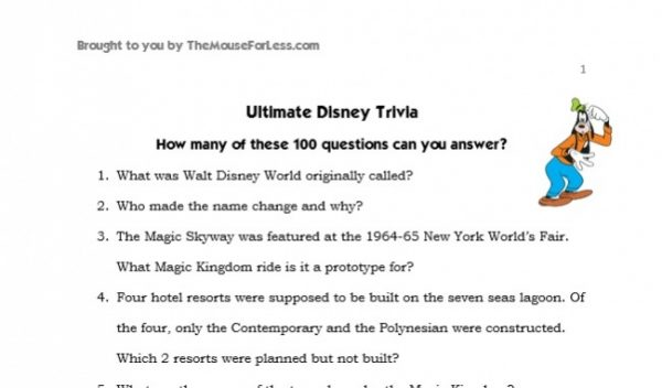 Nerdy image throughout disney trivia printable