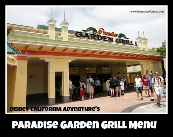 Paradise Garden Grill Menu