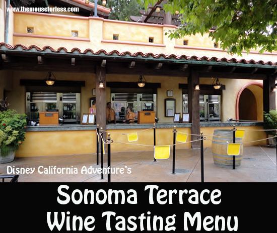 Sonoma Terrace Wine Tasting Menu #Disneyland #DisneyCaliforniaAdventure